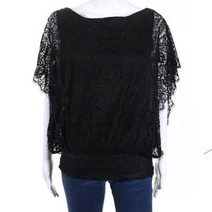 SCOOP NYC black Lace Silk boatneck tunic ONE SIZE
